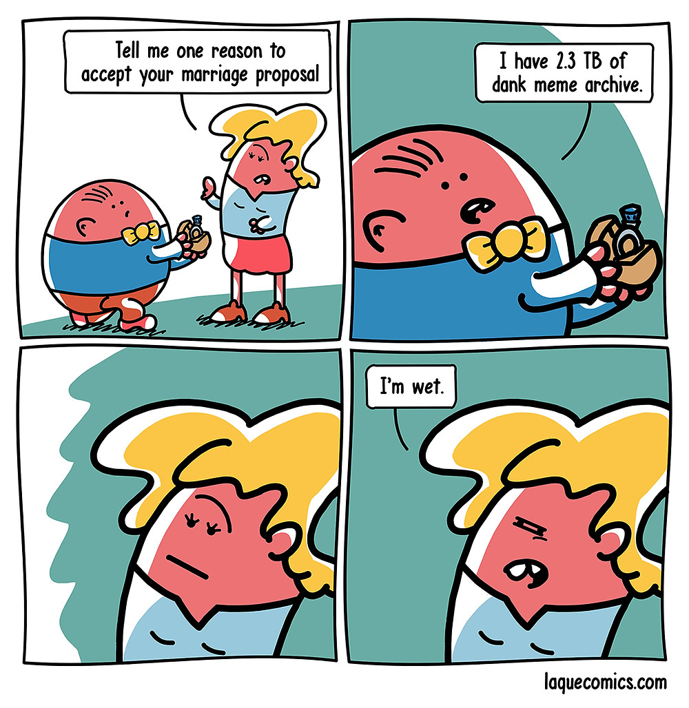 A four-panel comic about a marriage proposal and his reasons to why someone should marry him.