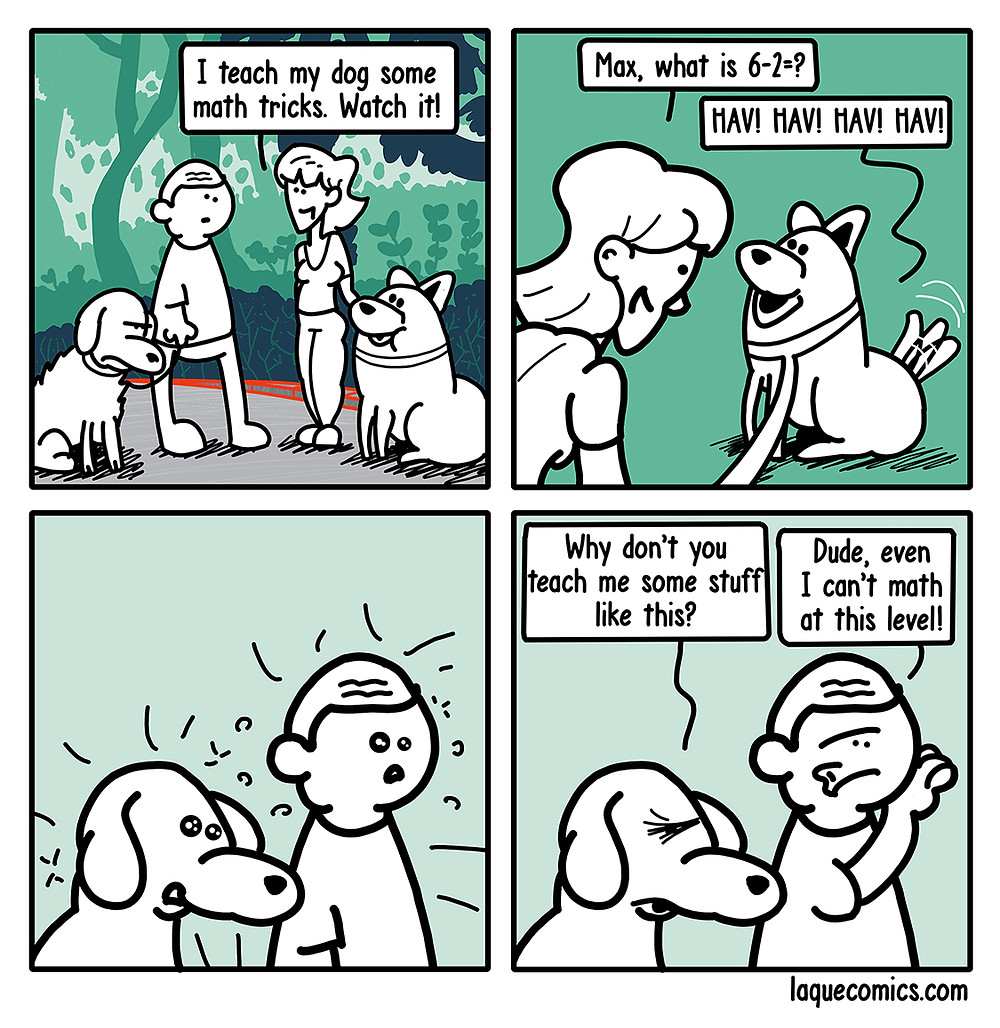 A four-panel comic about a dog's math talents and another dog's envy on him.