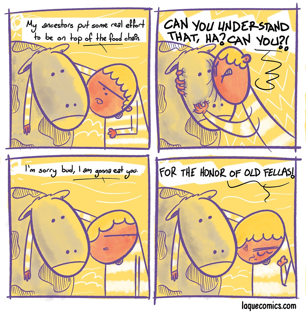 A four-panel comic about reasons to eat meat.