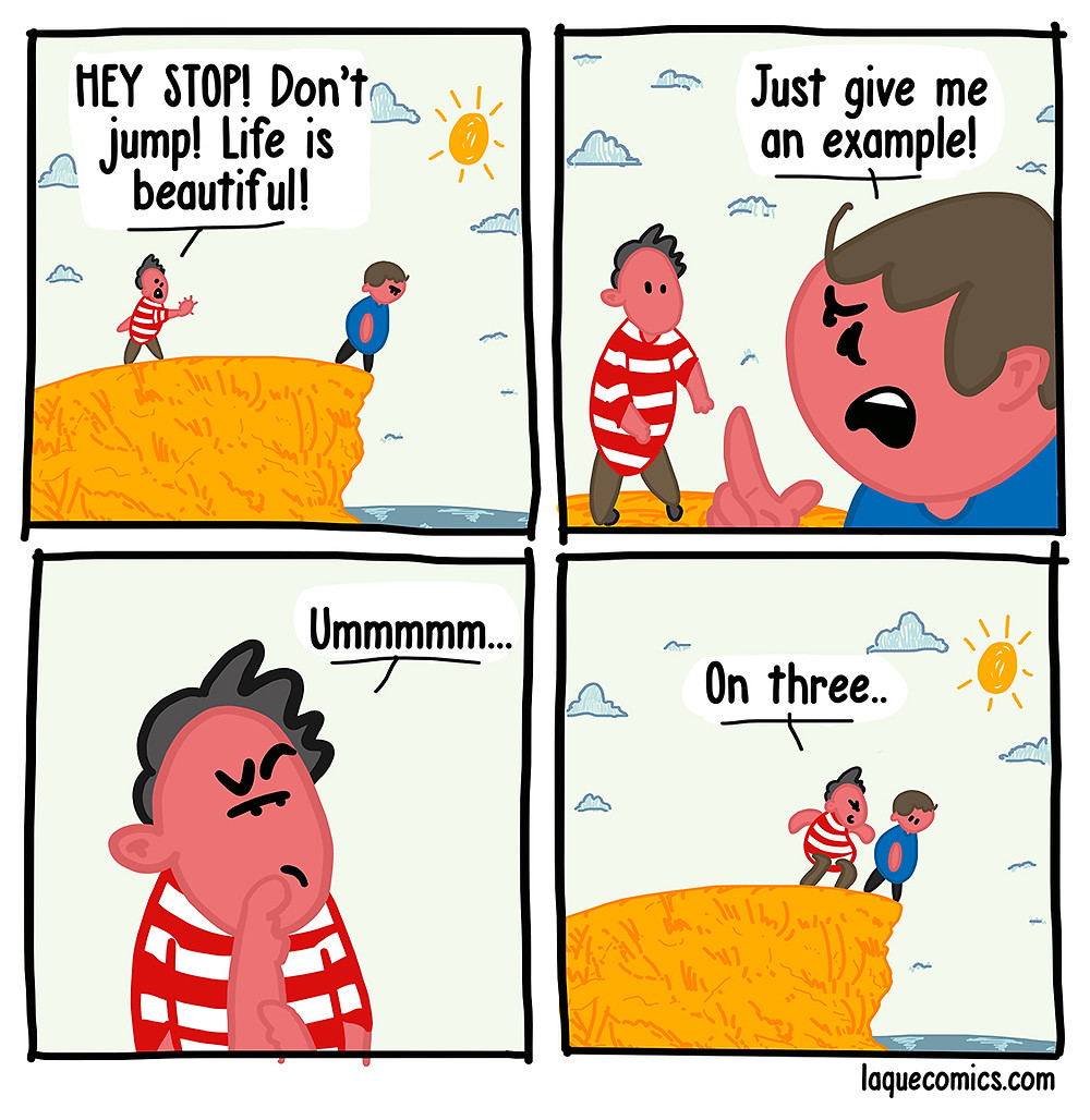 A four-panel comic about a guy who is about to commit suicide and a guy who tries to prevent him.