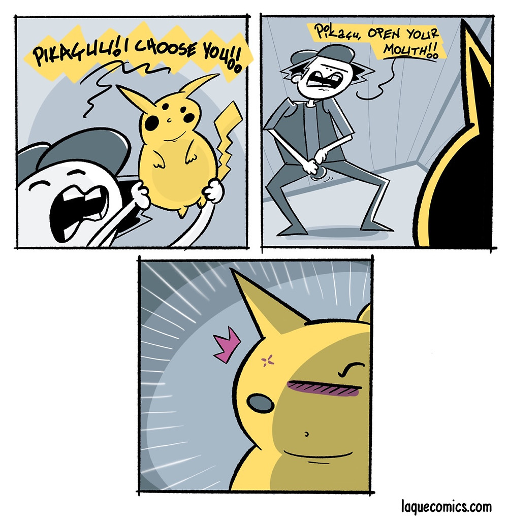 A three-panel comic about pikachu and some inappropriate demands.