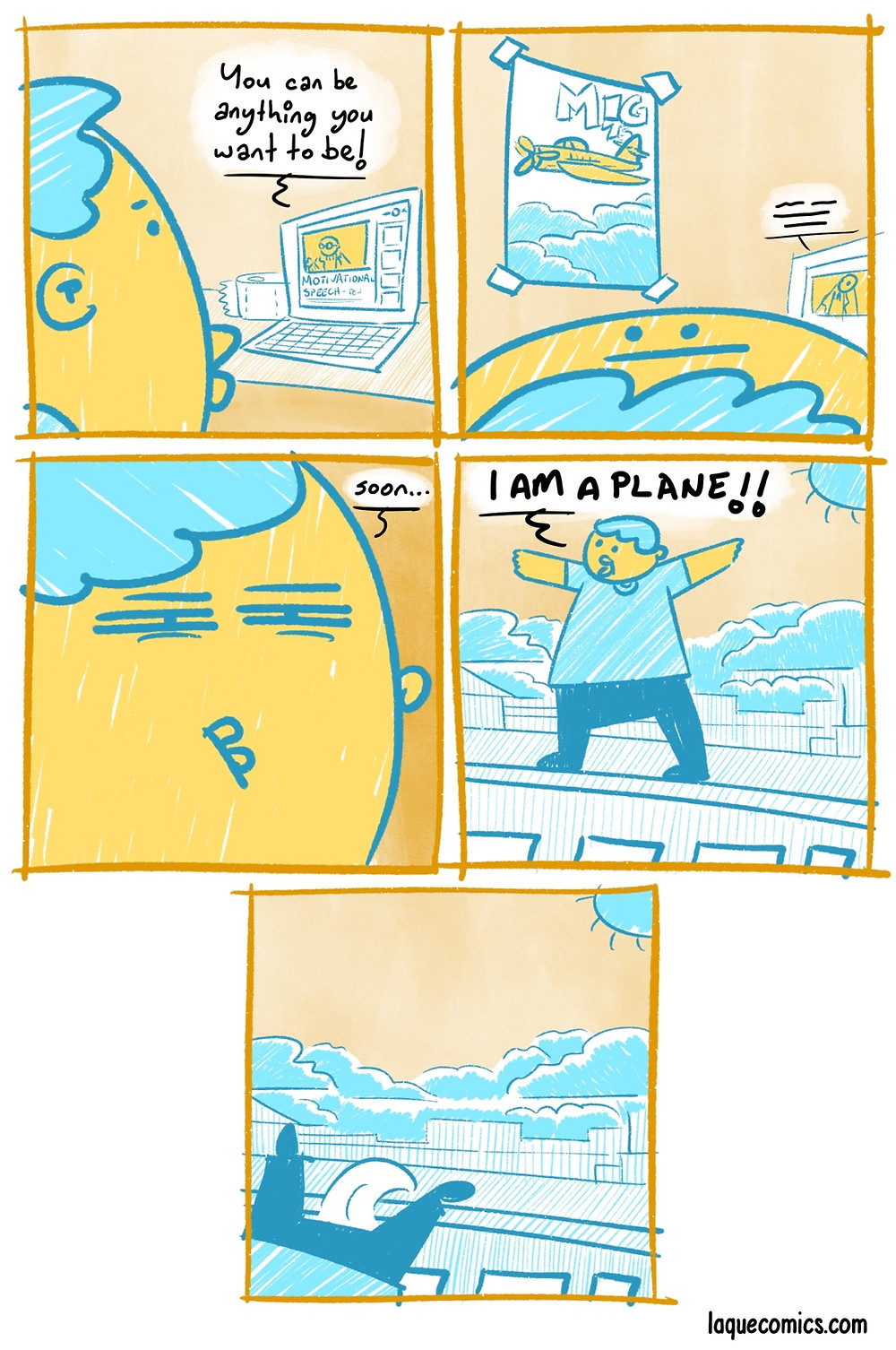 A five-panel comic about a person's dreams.