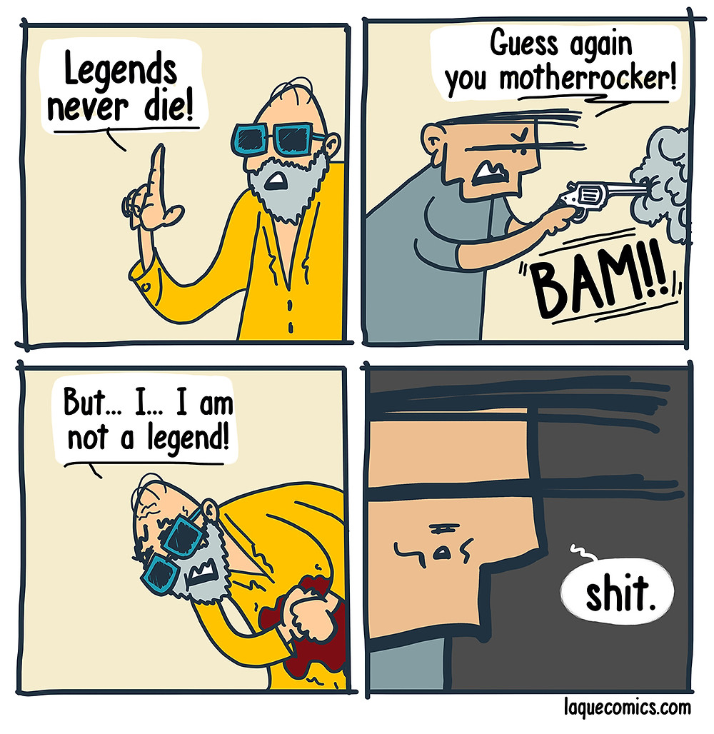 "A four-panel comic about the ""Legends Never Die"" phenomena."