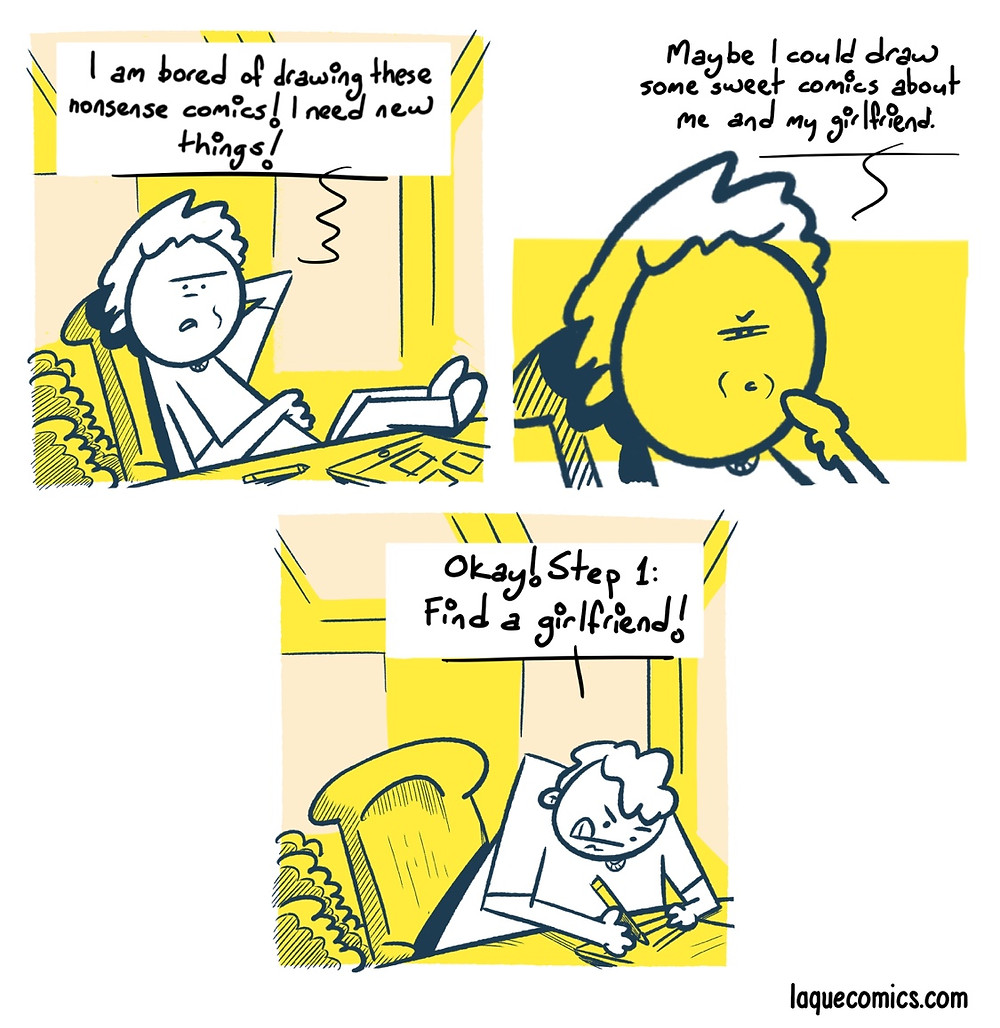 A four-panel comic about a comic artist's struggle on finding a theme.
