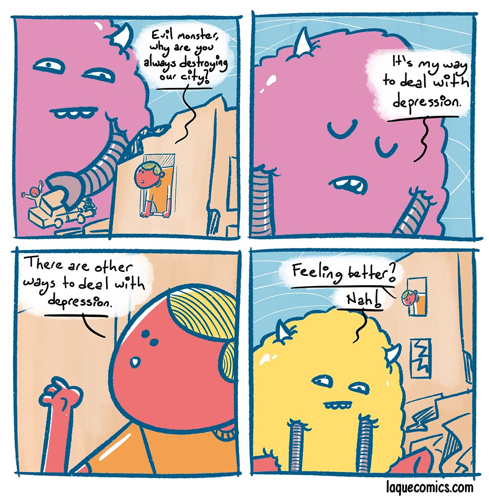 A four-panel comic about dealing with depression