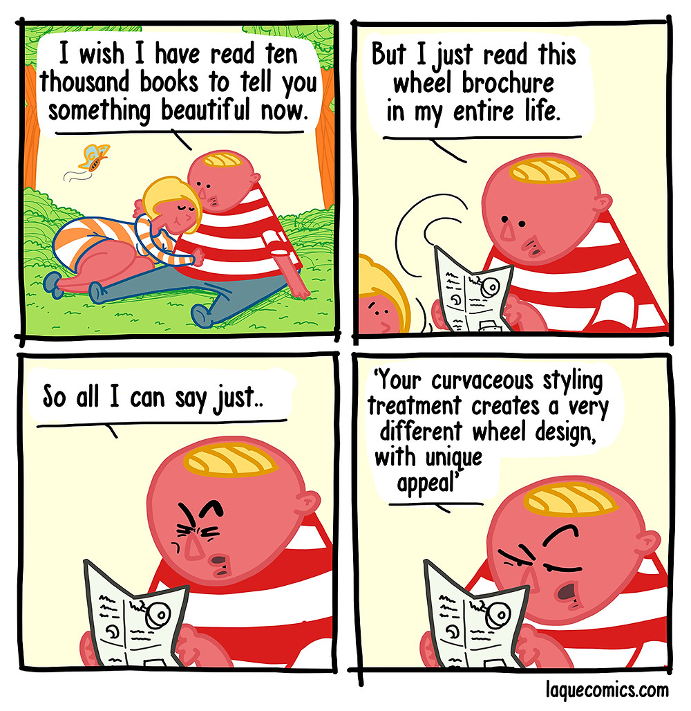 A four-panel comic about a couple romantic moments.