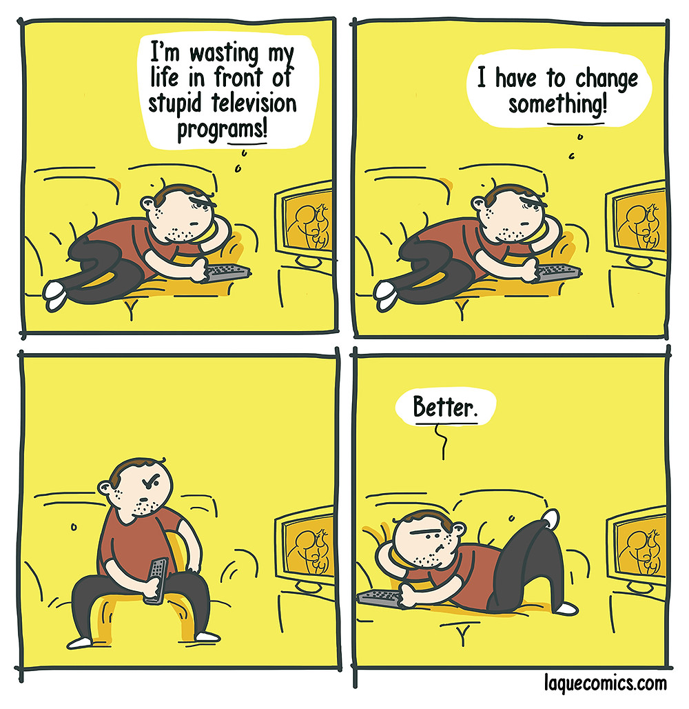 A four-panel comic about a guy's plans on changing his lifestyle.
