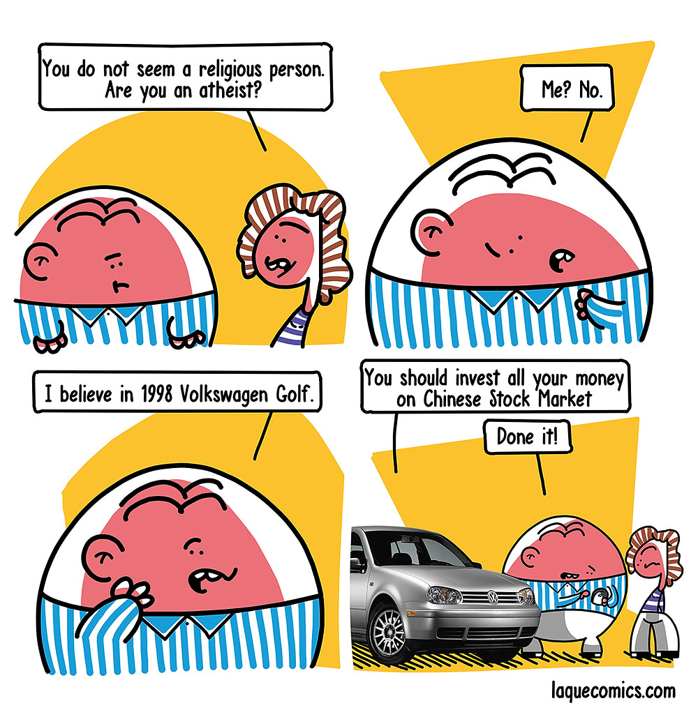 A funny four-panel comic about a guy's religious beliefs on a car model.