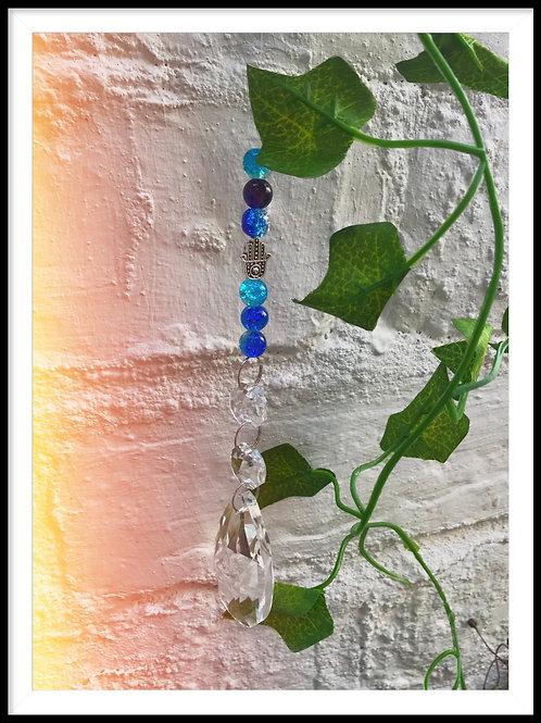 Blue Hamsa Suncatcher