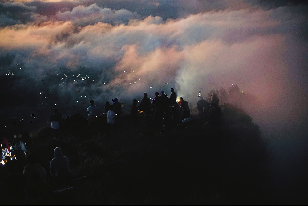 Fireworks on a foggy mountain