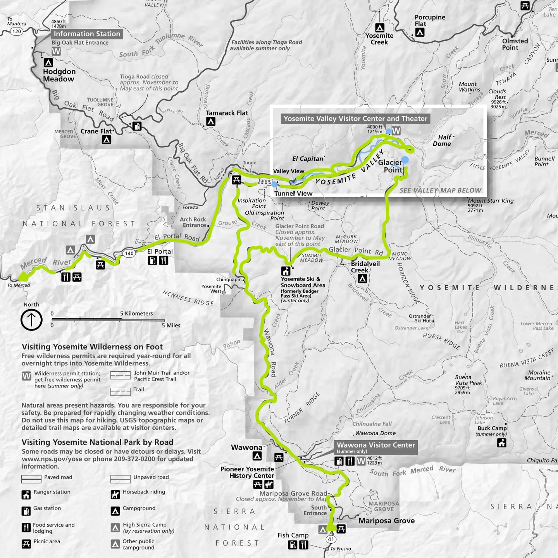 Roadmap of Yosemite Nat'l Park