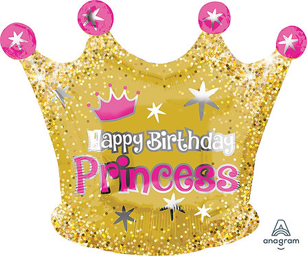 Happy Birthday - Princess Gold Crown - 18 inches