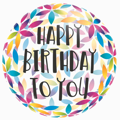 Happy Birthday - Petals Clear Foil - 18 inches