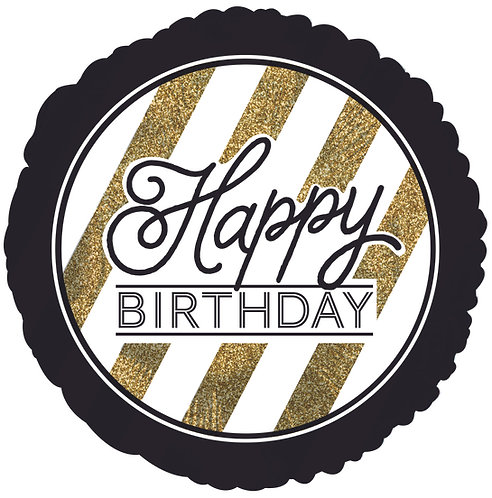 Happy Birthday - Black and Gold Glitter - 18 inches