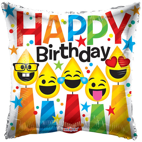 Happy Birthday - Smiling Candles 18inch