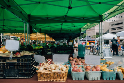 Baskets of vegetables City farmers' market