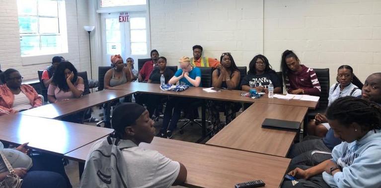 Students listening to our Sept Rap Session on Entrepreneurship