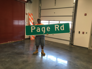 Donovan hard at work with the City of Durham, DOT Signs and Signals Shop (NCWorks NextGen)