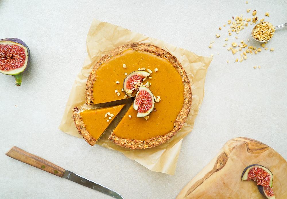 selbstgemachter gesunder Kürbiskuchen - glutenfrei und vegan