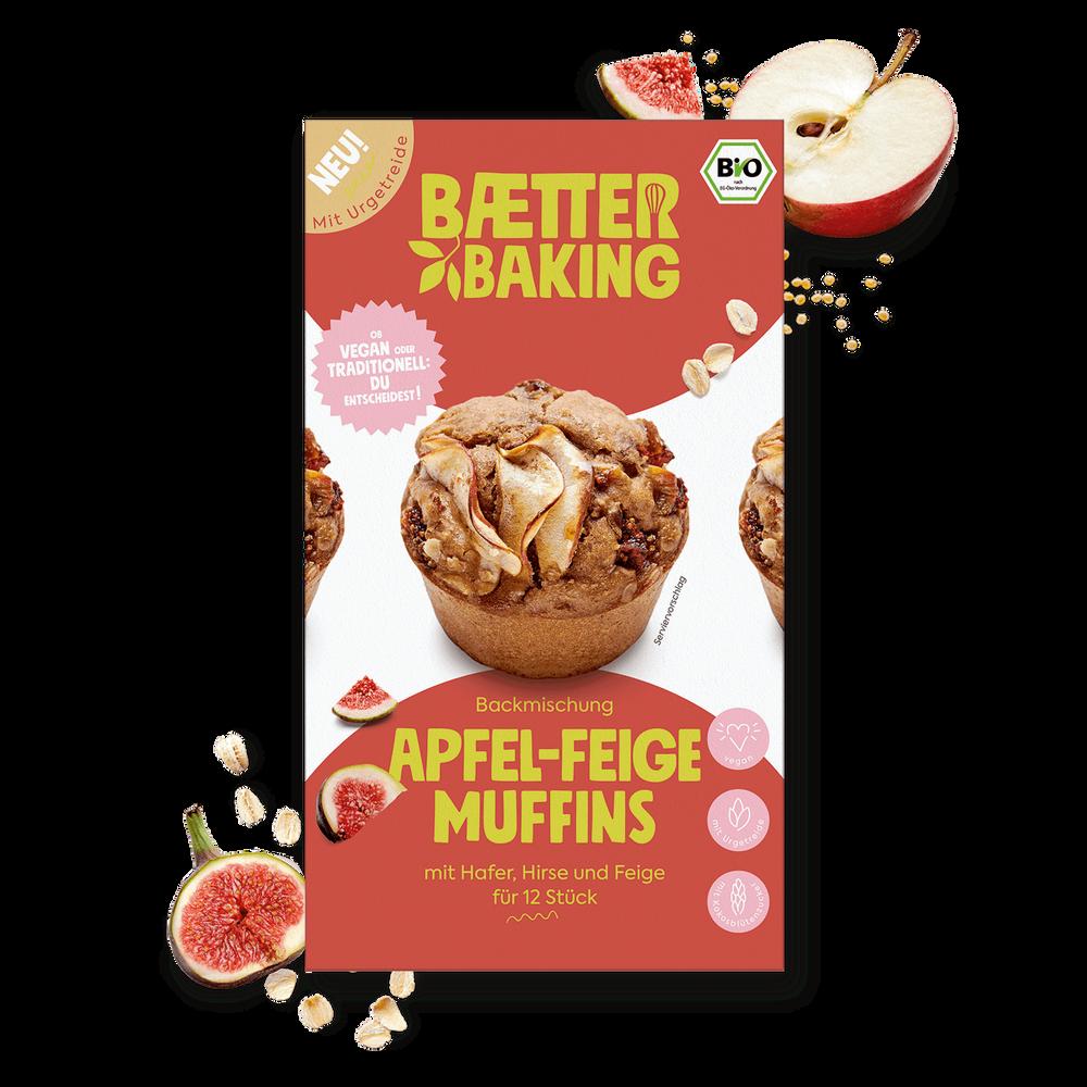 Bio-Backmischung für vegane Apfel-Feige-Muffins aus Urgetreide von Baetter Baking