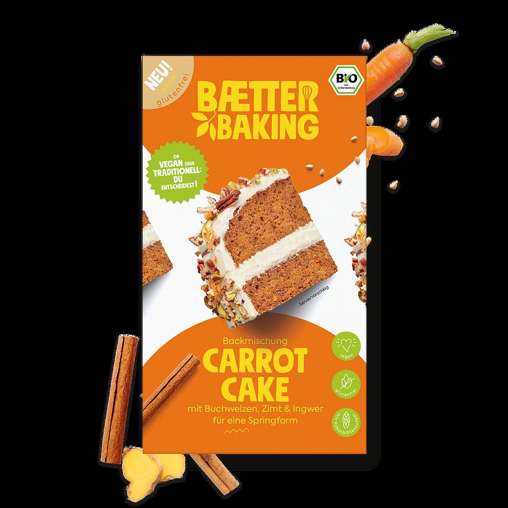 Bio-Backmischung für einen veganen und glutenfreien Carrot Cake von Baetter Baking