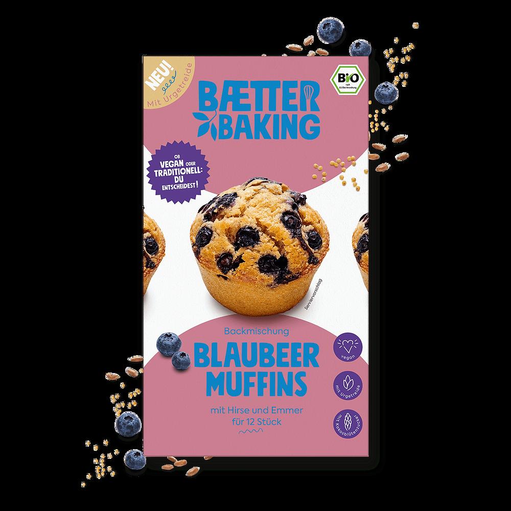 gesunde Bio-Backmischung für vegane Blaubeer-Muffins mit Urgetreide von Baetter Baking