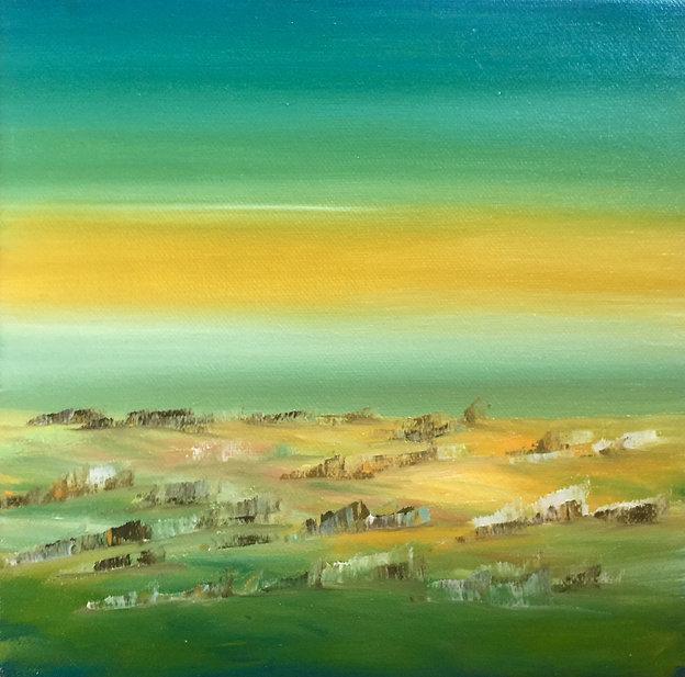 Sonorità in verde oil on canvas 20x20cm