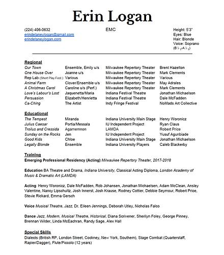 Erin Logan | Actor | Resume