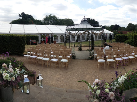 Wedding ceremony and drinks reception. The Walled Garden, Beeston