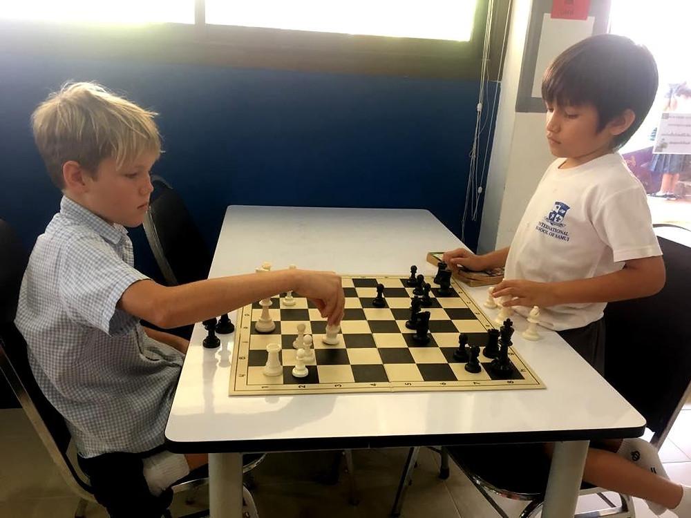 Luka (Year 5) and Sasha (Year 3) playing chess