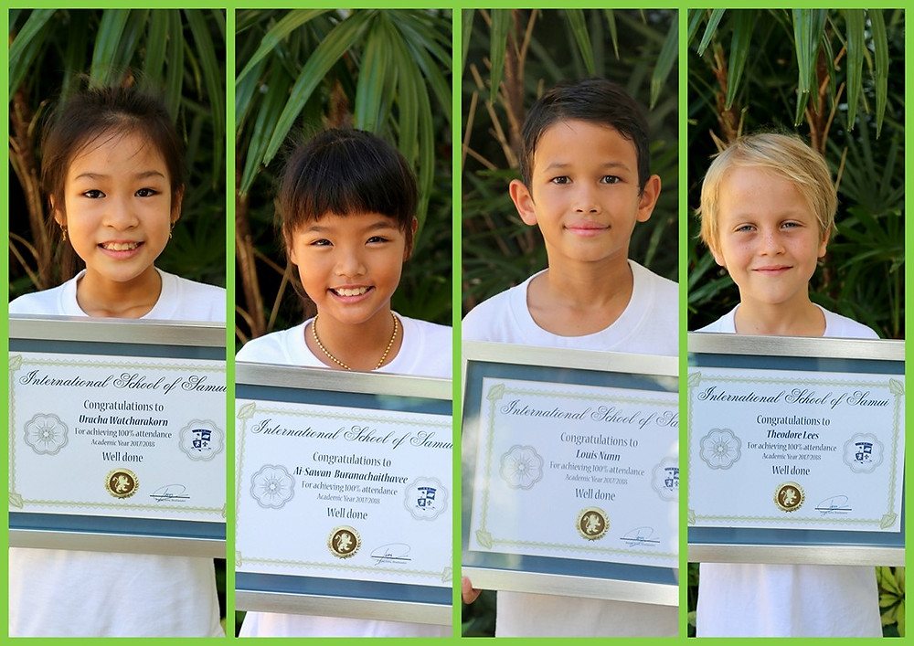 Our most punctual students in primary school for academic year 2017/2018 at the International School of Samui