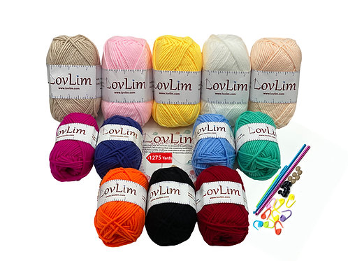12 Soft Cotton Yarn Skeins 5x50g and 7x25g, 1275 yards