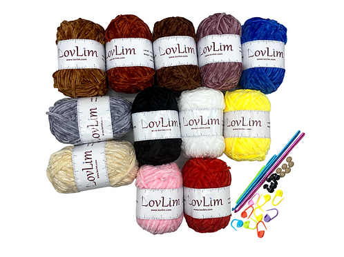 12 Chenille Yarn Skeins for Crochet and Knitting, 1200+ yards