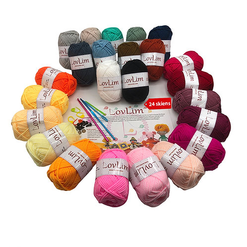 24 Soft Cotton Yarn Skeins for Crochet and Knitting, 1500+ yards