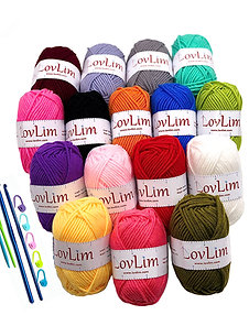 16 Soft Cotton Yarn Skeins for Crochet and Knitting, 1200 yard