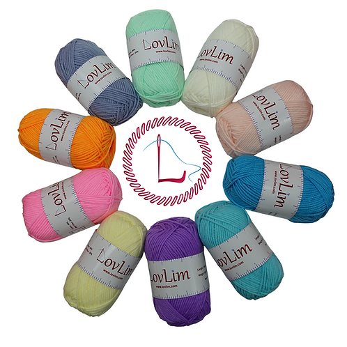 Pack of 10, 50g Soft Cotton Yarn Skeins for Crochet and Knitting, 1200+yard