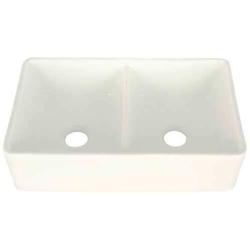 fireclay farmhouse double sink front