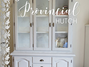 French Provincial hutch makeover with stamped design