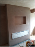 Newly plastered fire breast