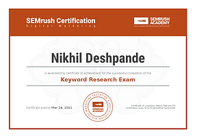 SEM Rush keyword research Certified