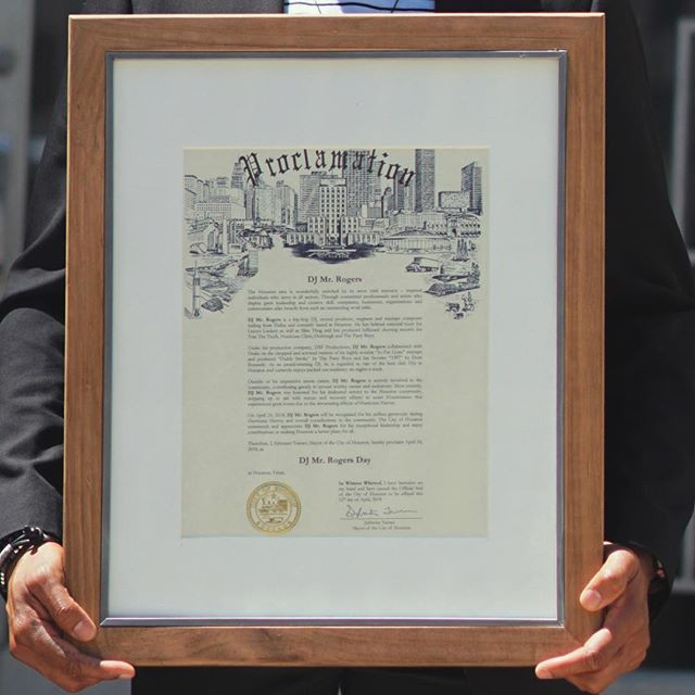 City of Houston Proclamation for DJ Mr. Rogers Day