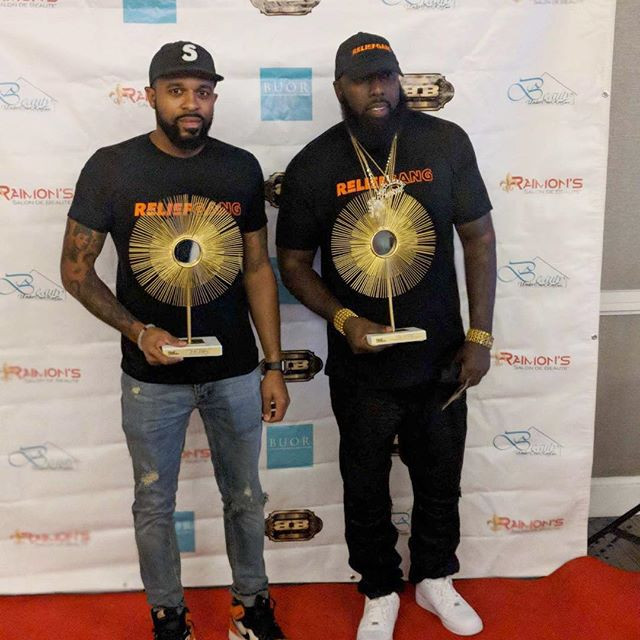 Mr. Rogers and Trae tha Truth with Living Legends Humanitarian awards