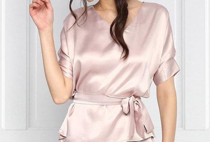 Satin robe blouse