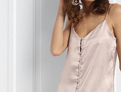 Satin Pyjama Set With Buttoned Camisole