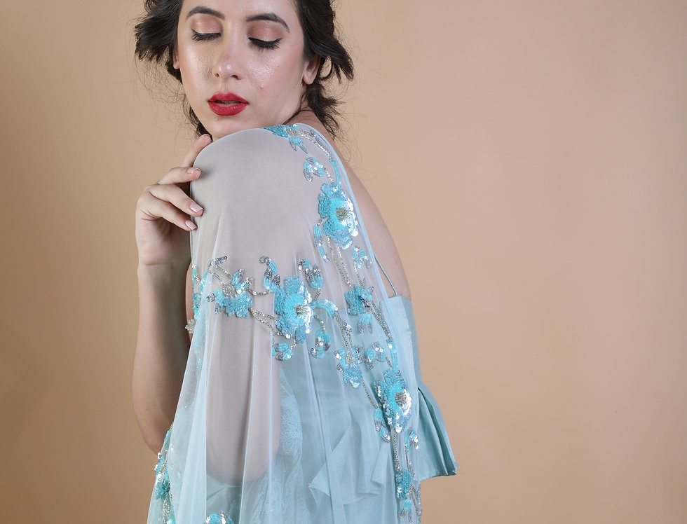 Blue garland embroidered dupatta with silk full length dress