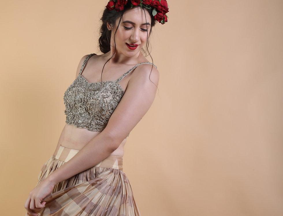 Checkered silk skirt with zardozi choli