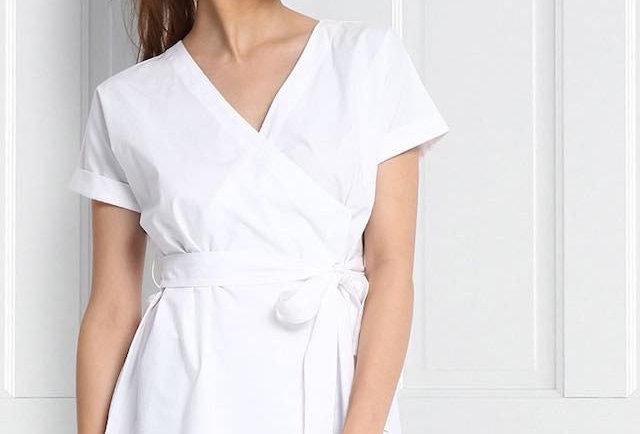 Kimono style pure cotton wrap blouse