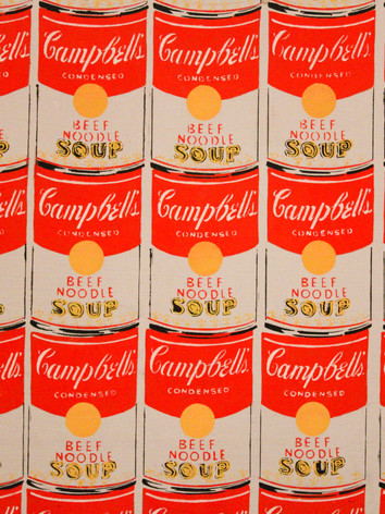 Zoom sulla tela di 100 Campbell's Soup Cans, 1962