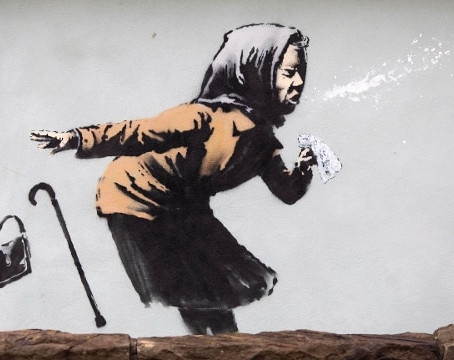BRISTOL - BANKSY CLOSES 2020 WITH A SNEEZE: Aachoo!!