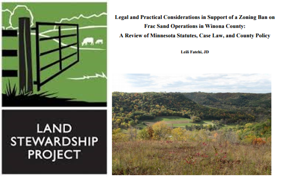 Leili Fatehi winona county frac sand ban legal and policy report for Land Stewardship Project